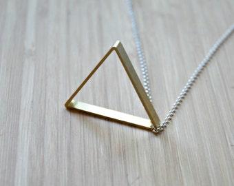 Brass triangle necklace, large triangle, geometric necklace, arrow, point, long silver chain, unisex, modern, mens necklace - voulez vous
