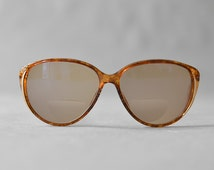 Vintage Christian Dior glasses eyeglasses glitter designer sunglasses French 70s womens ombre amber oversized statement frame eyewear