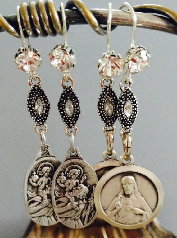 "Dangle Earrings ""Sacred HEART"" Rhinestones Silver Vintage assemblage Repurposed, Variations, Catholic Medals, Crystals, OOAK, Religious"