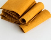 Yellow napkins - mustard linen napkin set - table linens -  yellow holiday napkins in size 18x18  0304