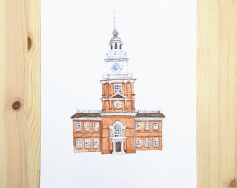 Independence Hall Watercolor Painting