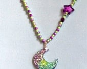 Aurora Magic - Sparkle Moon Stretch Necklace with Glitter Beads, Iridescent Neon Pearls, and Purple Star