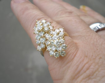 Vintage Estate 14 kt Yellow Gold Diamond Waterfall Cluster Cocktail Ring 2.5 Carats sz 5.5