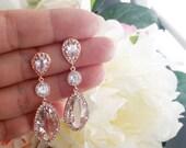 ROSE GOLD EARRING, Wedding Earrings, Drop, bridesmaid gift, bridal Earrings, Clear, Studs Earrings, post earrings, Mother's day  Gift
