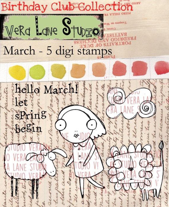 March - whimsical digi stamp set with a windy cloud, lamb, lion and girl. Avalaibale for instant download
