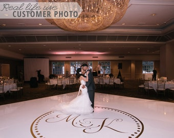 Wedding Dance Floor Circle Monogram Vinyl Decal Removable for Custom Personalized Wedding Decor