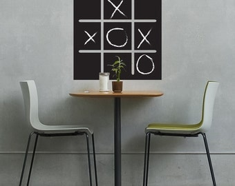 Tic Tac Toe Chalkboard Game Decal - Wall Decal Custom Chalkboard Vinyl Stickers for Playrooms, Kids Rooms, Cafes, Family Rooms, Game Rooms