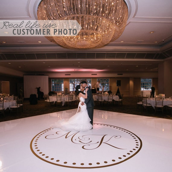 Wedding Dance Floor Circle Monogram Vinyl Decal Removable For
