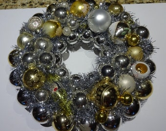 """Vintage Hand Crafted 16"""" Glass Christmas Ornament Wreath Shiny Brites Indents Mica Glitter"""