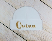 Gold Glitter Personalized White Baby Girl Infant Beanie Hat Baby Accessory