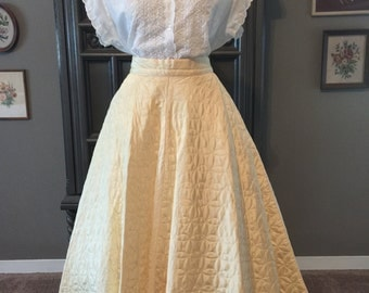 50s Butter Yellow Quilted Satin Circle skirt With Slip Pockets