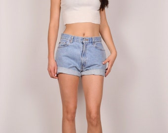 Levi's 512 High Waisted Denim Cuffed Shorts Vintage Medium Large