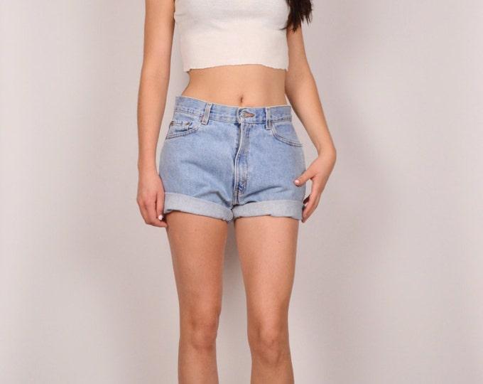 Levi's 512 High Waisted Denim Cuffed Shorts Vintage Medium Large