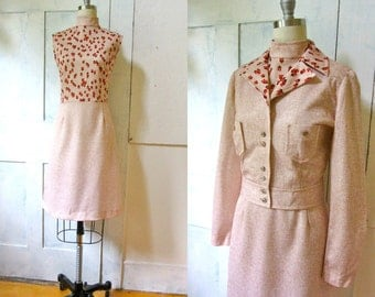 70s Polyester Dress and Jacket - Shift Dress - Floral - Cropped Jacket -
