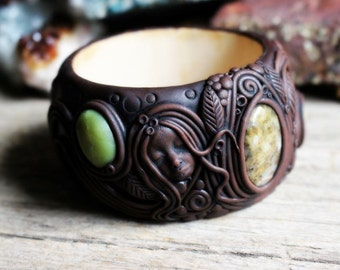 Earth Goddess Bangle with Jasper Gemstones - Handcrafted Clay on Wood.. Clay with Healing Gemstone and Crystal Jewelry.