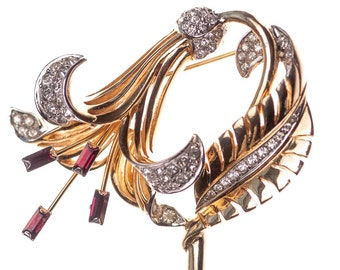 Vintage Boucher Pave and Ruby Red Rhinestone Stamens Gold Plated Lily Brooch