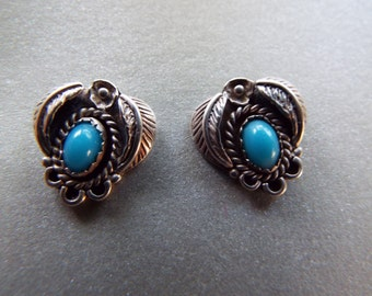 Southwestern sterling silver Native American sleeping beauty turquoise shadowbox  earrings feather leaf