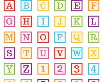 Baby Blocks Clip Art Set | Cute Simple Typography Class Supplies Graphic | Digital Illustration Stock Icons | Personal or Commercial Use