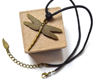 SPECIAL OFFER ! Necklace - Choker - Bronze Dragonfly - Vintage Style - Handmade