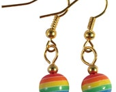 RAINBOW Bead EARRINGS on Gold or Silver Tone Nickelfree Hooks LGBT Gay Lesbian Pride