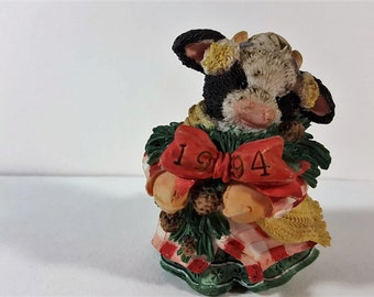 "Mary Moo Moos ""Heffergreen"" Christmas Figurine"