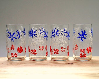 Set of 4 Vintage Glasses with Blue, Red and White Floral Design