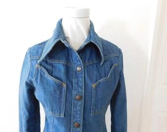 LandLubber Blue Jean Dress, Snap Front, 1970's, Form Fitting Dress, Jean Long Jacket