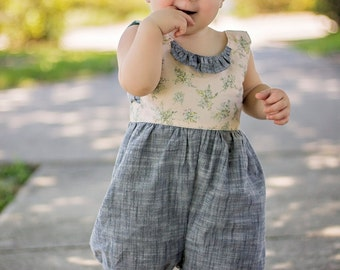 Sweet Pea Romper PDF Sewing Pattern - sizes NB, 3mo, 6mo, 12mo, 18mo, 2t, 3t, 4t, 5t, 6t