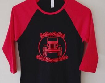 Badass Ladies Jeep Red and Black Baseball Tee
