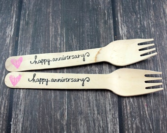 Happy Anniversary You Pick Colors and Utensil Type 25 Wooden Forks Spoons Knives Utensils Silverware, 50th, 25th, 40th, golden, silver,
