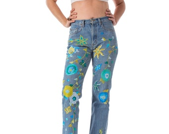 Vintage Levis Hippie Boho Floral  Embroidered jeans