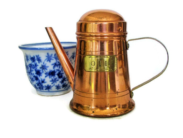 Copper Olive Oil Cruet Dispenser Rustic Kitchen Copper