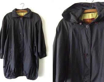 Nylon Raincoat Batwing Jacket - Convertible Hood Long Coat 90 Dramatic Minimalist Goth Cocoon Jacket - Womens Large