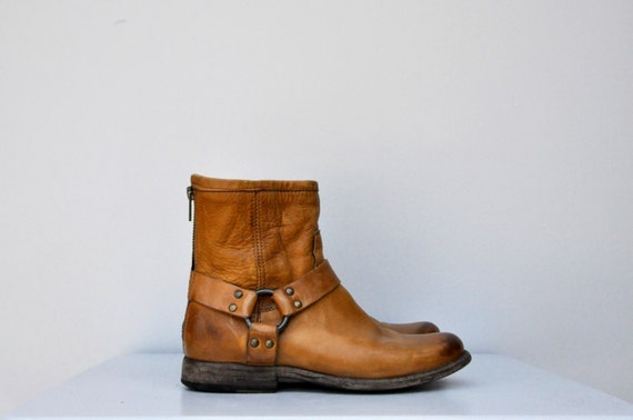 frye harness brown leather boots ankle boots frye belted