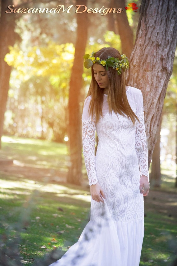 70s Wedding Dress, SuzannaM Designs, Romantic Wedding Dress, Long Lace Wedding Dress, Chiffon Wedding Gown, Long Sleeve Bridal, Audrey