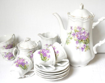 antique french tea set vintage tea service antique tea set white porclain tea pot french porcelain vintage cream set