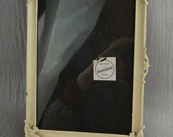 Off White Painted Metal Empty Picture Frame with Wood Stand Back