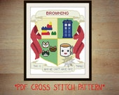 Your Own Custom Geeky Coat of Arms cross stitch pattern! Made to order - one of a kind.