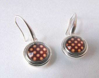 Small Drop Earrings ~ Glass and Metal Snap Earrings - Dangle earrings - Modern Earrings - Interchangeable Snap Jewelry by ElleBelleArt