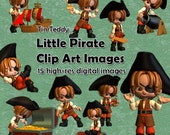 Little Pirates Clip Art 15 digital images for cardmaking and crafting. Printable toon pirate images, mixed media clip art