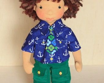 "Waldorf inspired 16"" boy doll Mikah plus his outfits.Cloth doll,soft doll,stuffed doll,Waldorf doll,soft toy,doll clothes"