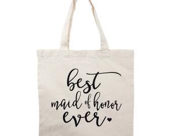 Maid of Honor Tote Bag - Natural Canvas - Maid of Honor Gifts, Matron of Honor Gift Wedding Tote Bags,Bridal Party Bridesmaid Gifts Totes