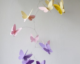 Butterfly mobile, Hanging mobile, Nursery mobile, Yellow pink purple and lavender mobile, Home decor, Mobile for girl