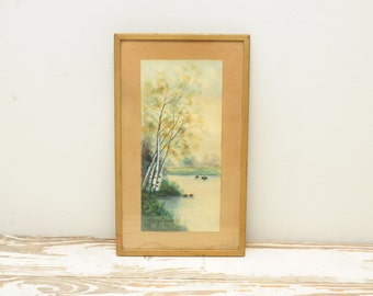 Original Painting Watercolor Birch Trees Mountain Lake