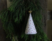 Christmas Tree - hand embroidered white Felt, with bird bead, sequins, metallic thread and red french knots