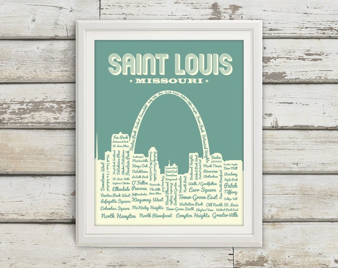 Featured listing image: St. Louis Neighborhoods Poster, St. Louis Arch, Saint Louis, St. Louis, St Louis Poster, Typography, St. Louis Map, Arch, Missouri, Art