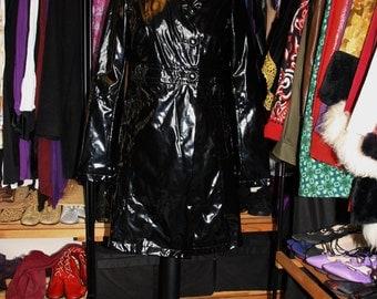 The Flasher-60's Mod Black White Piping Mack Rain Coat