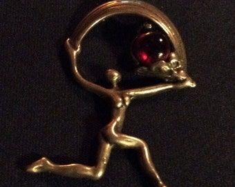 Vintage Sterling Silver Running Woman with Banner or Rainbow