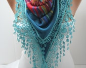 Multicolor Shawl Scarf Cotton Scarf with Blue Lace Triangle Scarf Summer Fashion Women Accessories Gift For Her DIDUCI