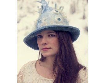 Blue Felted Hat for a Spiky Pixie or Winter Inspired Wizard with Fedora Style Brim - Burning Man Hat